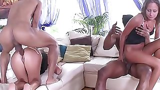 Fit to Fuck Russian Babes - 2on2 Dark-hued on White Anal Sex with DP