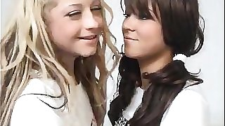 Ash-blonde Teen Pokes A Dark-haired College girl With Strapon